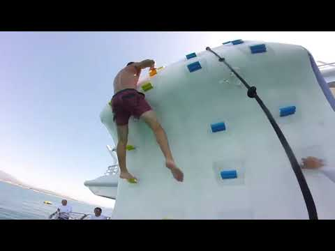 Climbing wall rental - Showing Some Strength on the Climbing Wall
