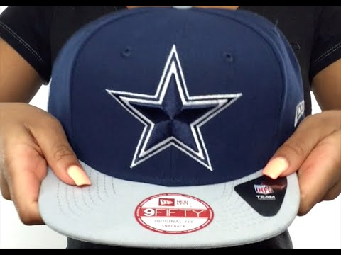 dd7077545e0 Cowboys  NFL LOGO-GRAND  Navy-Grey Fitted Hat by New Era - YouTube