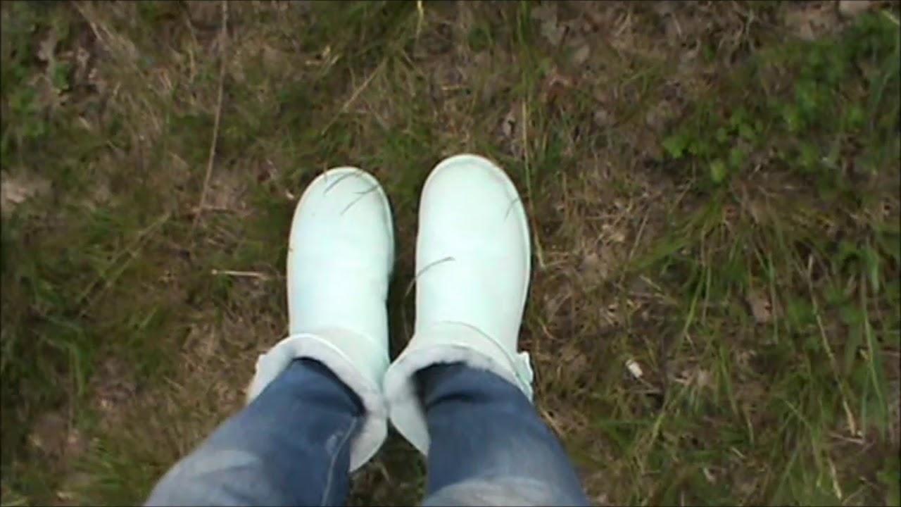 1e2793820e Walking with my aqua Ugg Mini Bailey Button Poppy - YouTube