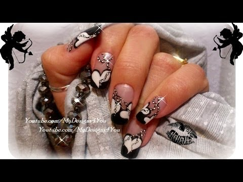 Valentine`s Day Black and White Nails Art