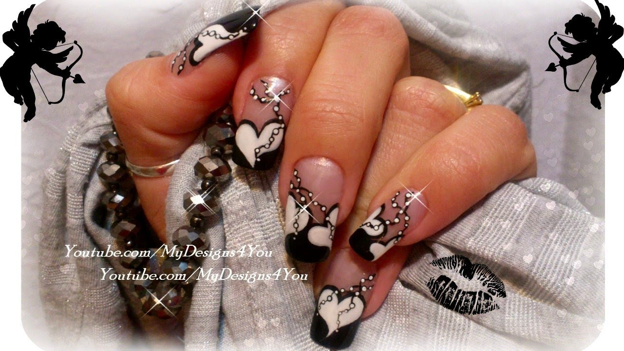 Valentine S Day Nail Art Black And White Nails Diseño De Uñas San Valentin You