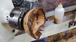 Woodturning a White Oak Burl