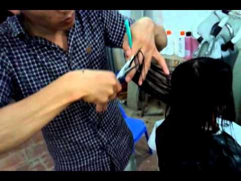 Cắt tóc uốn sóng to!cắt hình khối