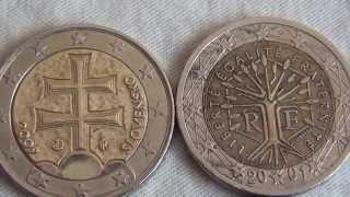 Monety dwa euro. Two euro coins.