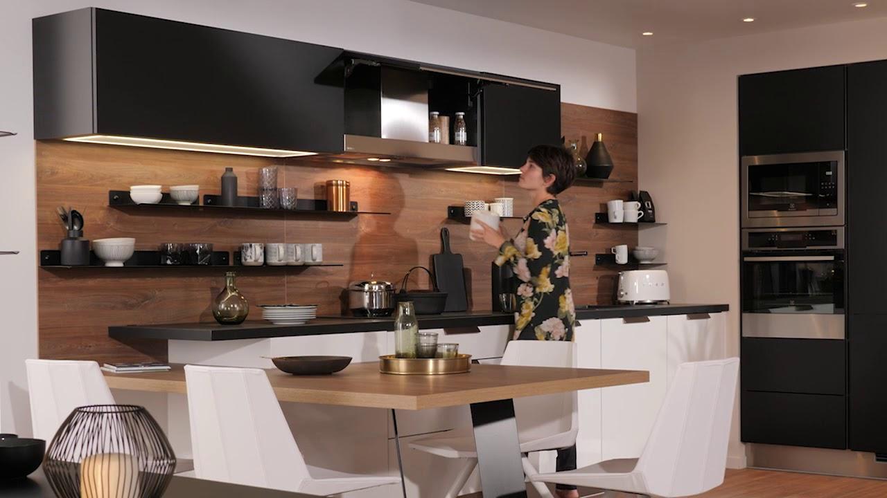 Cuisinella Focus Meuble Haut Avec Hotte Integree 2 Youtube