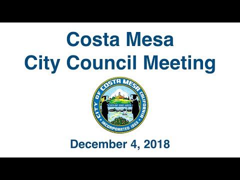Costa Mesa City Council Meeting  Dec. 4, 2018