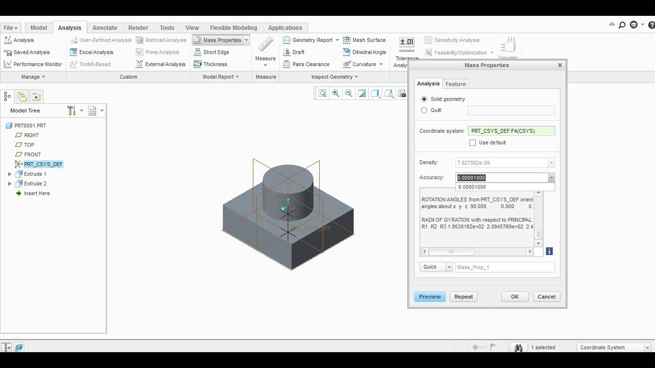 MASS PROPERTIES IN CREO PARAMETRIC - YouTube