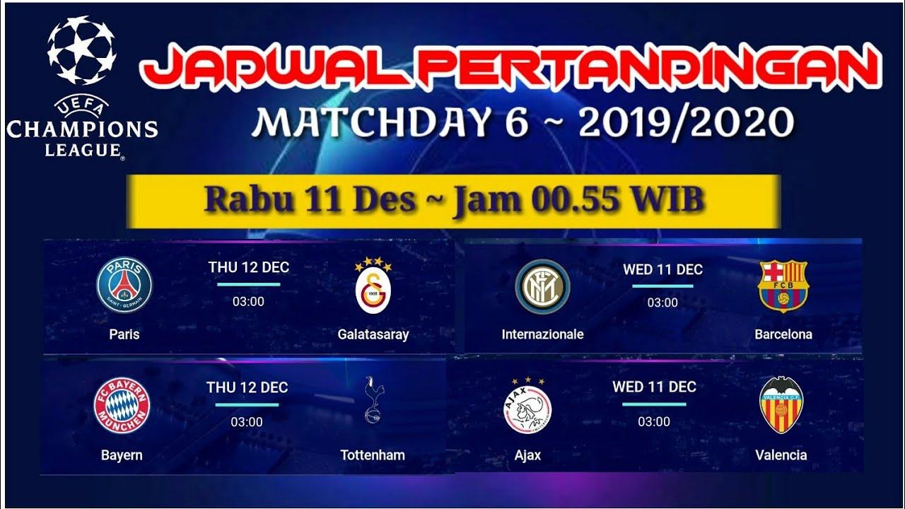 Jadwal Liga Champions nanti malam Matchday 6 (2019/2020 ...