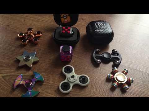 Fidget Spinner Collection Review Hydro Dip Ninja Star Metal Rainbow Silver Zinc Original Fidget Cube
