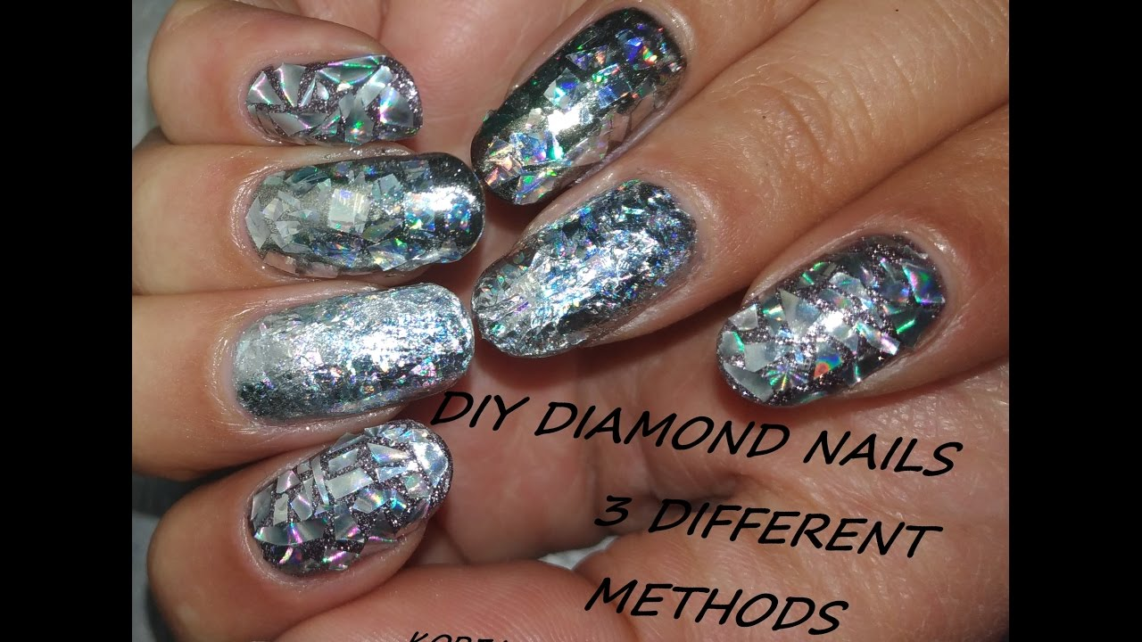 DIY Diamond nails - Three different Techniques Nail Art Tutorial ...
