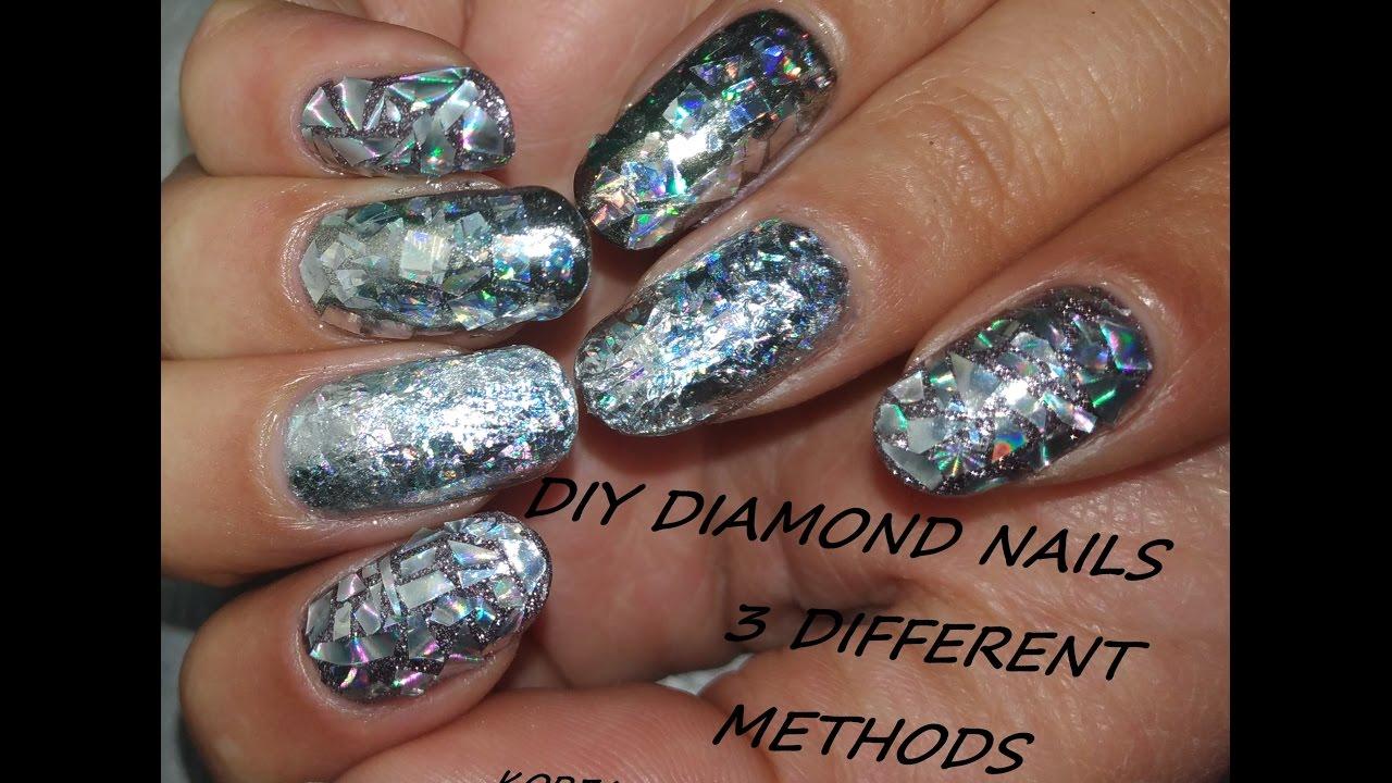 diy diamond nails - three