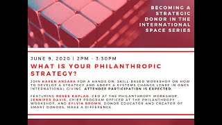 What is Your Philanthropic Strategy?