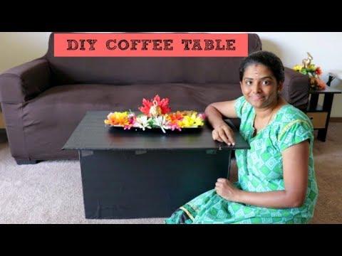 தமிழ்:DIY COFFEE TABLE USING WASTE CARDBOARD BOX