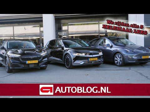 Tesla Model Y, Hyundai IONIQ 5 en Ford Mustang Mach-E helemaal LEEGRIJDEN