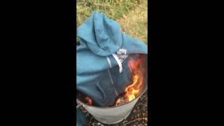 Burning the hoodie my ex girlfriend got me.