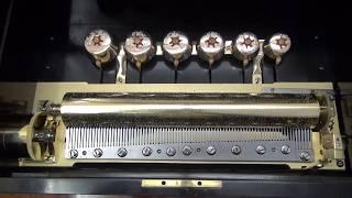 Unusual antique music box: engraved bells