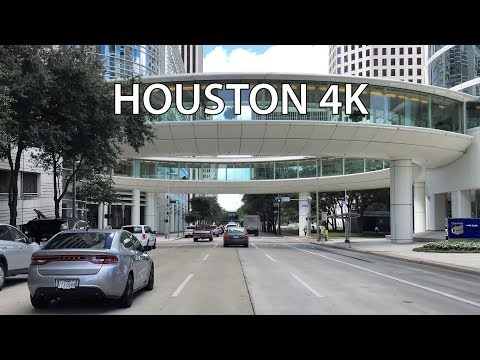 Driving Downtown - Houston Texas USA 4K