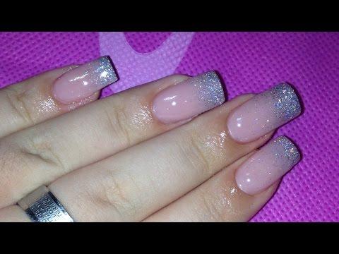 NAIL ART TUTORIAL: french glitter sfumato.♡