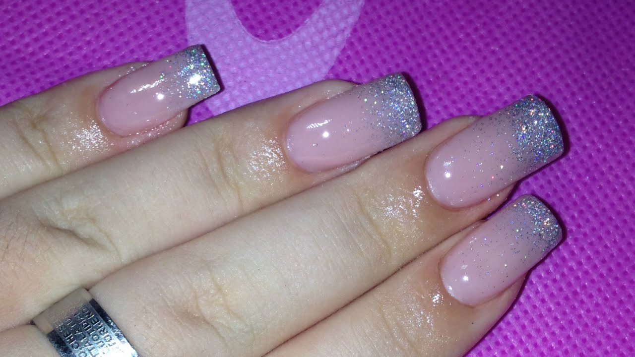 Nail Art Tutorial French Glitter Sfumato Youtube