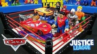 Disney Cars Toys vs Justice League Toys Shake Rumble with Batman & Lightning McQueen | KID CITY