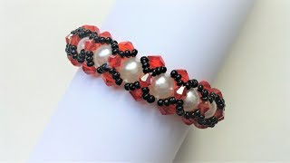 Elegant bracelet . Crystal bicone beads and pearl beads bracelet making