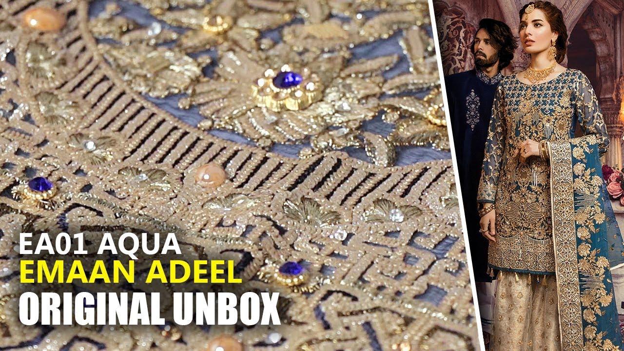 bb7c3a4ad7 Emaan Adeel Bridal Collection 2019 - Unbox EA01 Aqua Sprinkle - Sara Clothes