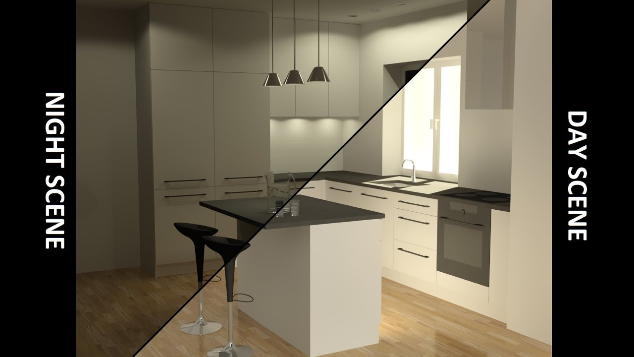 3d Basic Kitchen In Autocad Rendering Youtube