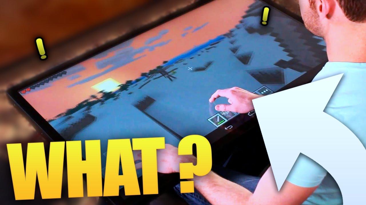 minecraft sur une tablette tactile g ante youtube. Black Bedroom Furniture Sets. Home Design Ideas