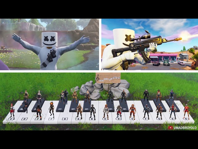 24 Players Play Happier On A Piano In Fortnite