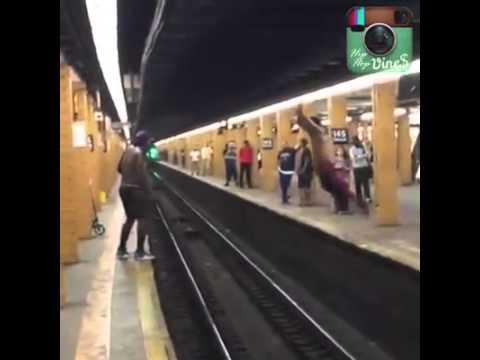 2015 BEST VINE-NEW YORK TRAIN STATION MAN JUMP ACROSS PLATFORM AND FAIL