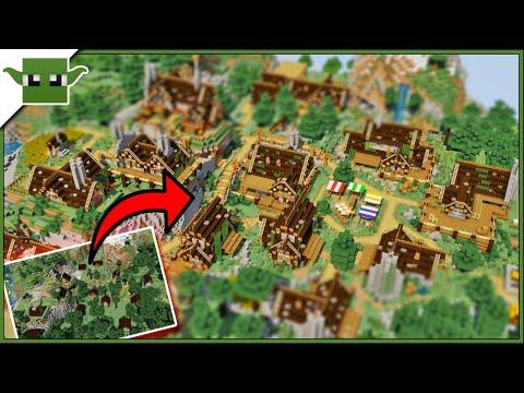 Minecraft TAIGA BIOME Transformation - Village Makeover TIMELAPSE