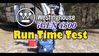 Largest Inverter Generator Run Time Test, Westinghouse iGen4500, Largest Fuel Tank=Longest Runtime?