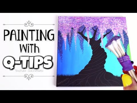 PAINTING With Q TIPS?! // Acrylic Paint Technique With Cotton Swabs