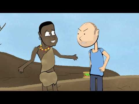 Karl Pilkington argues with a starving African (Ricky Gervais)