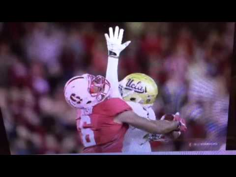 Francis Owusu Stanford WR Caught UCLA's Wadood, And Ball For TD