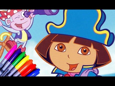DORA THE EXPLORER Fairytale Adventure In Pirates Coloring Page Rainbow Color