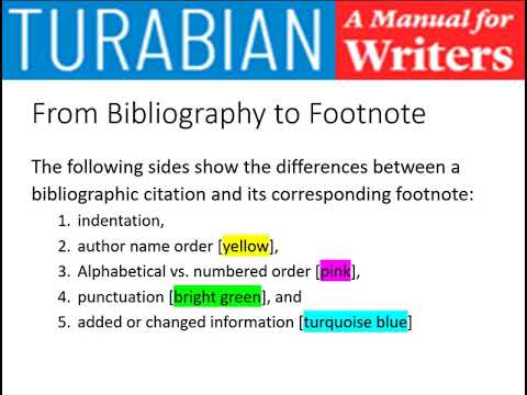 Turabian 9 Style : Part Two: Citations:  Bibliography & Footnotes