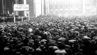 Cops curb rioters in Dublin after Eamon de Valera wins election. HD Stock Footage