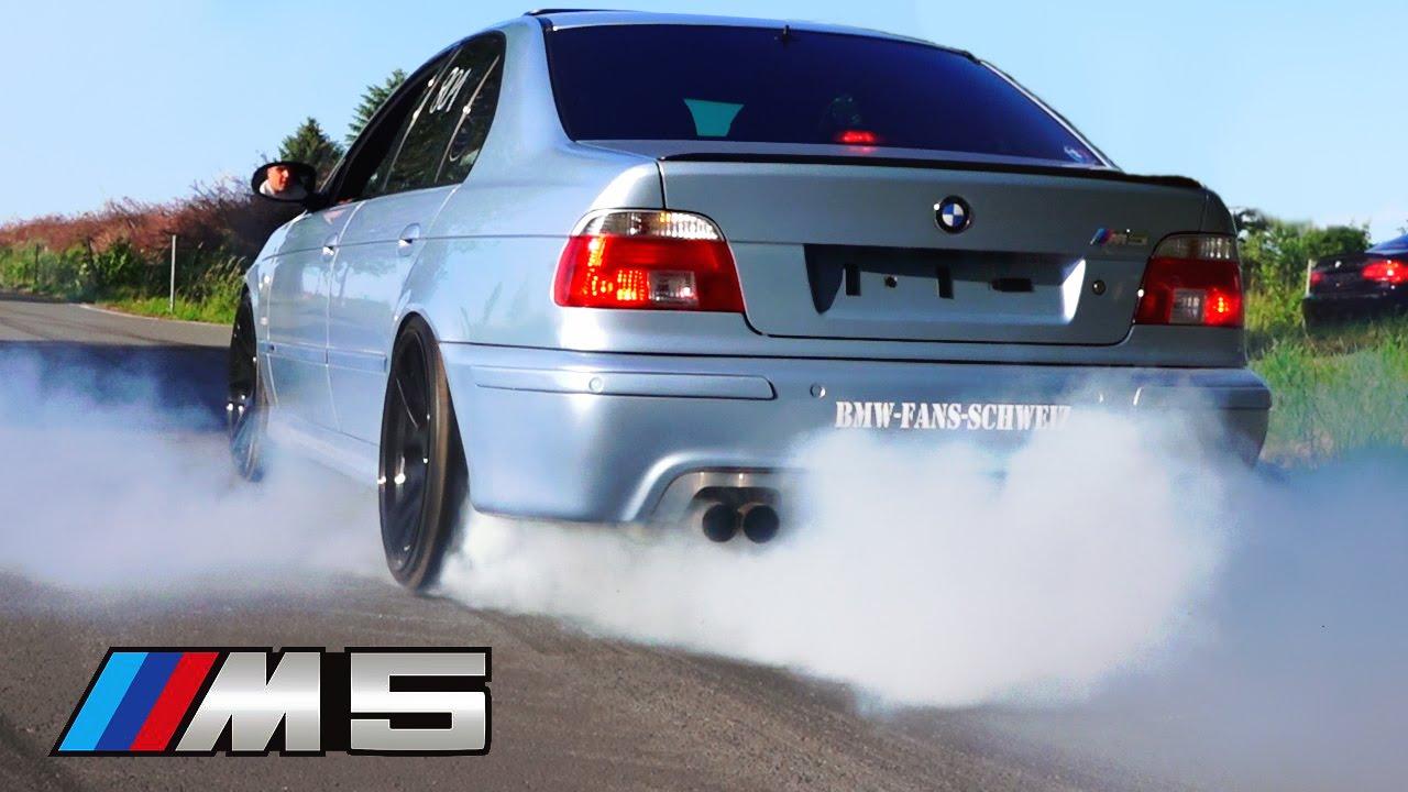 BMW M5 Sound V8 Exhaust E39 Burnout Acceleration REVS ...