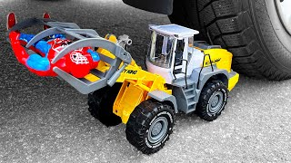 Crushing Crunchy & Soft Things by Car! Experiment Car vs Bulldozer Tractor Spiderman Superhero Toys