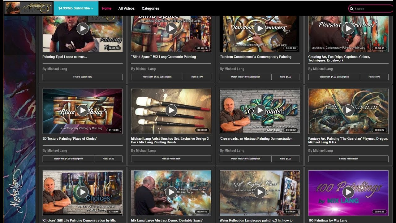 Michael Lang Art & Painting Videos available on PIVOTSHARE