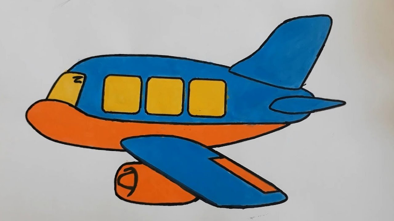 How To Drawing Color Airplane For Kids Step By Step Kids Draw Youtube