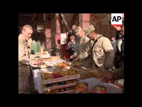 American and British troops celebrate Christmas