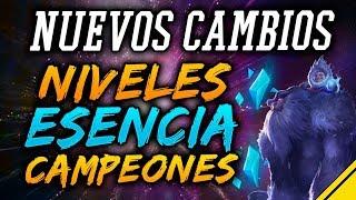 CAMBIOS a la ESENCIA AZUL y EXPERIENCIA SUBIR NIVEL + Campeones | Noticias League Of Legends LoL