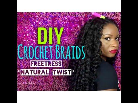 EASY CROCHET BRAIDS NO KNOT METHOD FREETRESS NATURAL TWIST Ha...