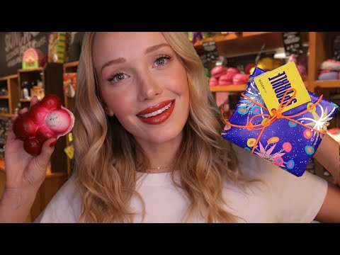 [ASMR] The LUSH Store! Gift Shopping Experience   soap cutting, tracing, bubbly water, lid sounds...