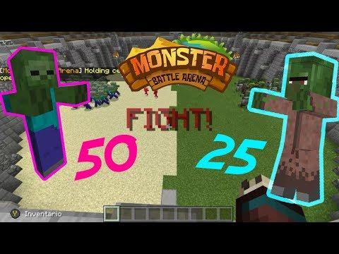 MONSTER BATTLE ARENA - 50 ZOMBIES VS 25 ALDEANOS ZOMBIE!!! - MINECRAFT XBOX ONE