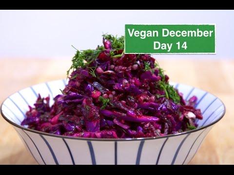 Russian Beet & Red Cabbage Salad – Vegan December Day 14  | Natalie Aviv