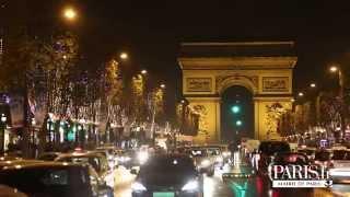 Illuminations des Champs-Elysées 2014 par Anne Hidalgo et Omar Sy