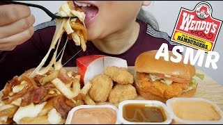 Wendy's Spicy Chicken Burger, Bacon Poutine & Nuggets | ASMR | N.E Let's Eat
